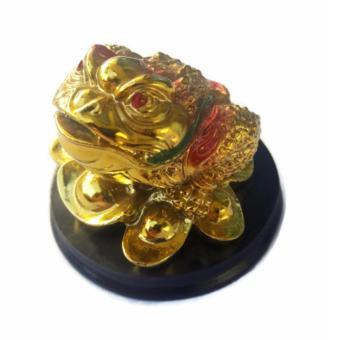 Be Lucky Charms Feng Shui Money Catcher Three Legged Lucky GoldenFrog Ornament - 2
