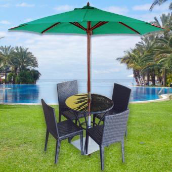 Beach Garden Wooden Patio Umbrella (Green)