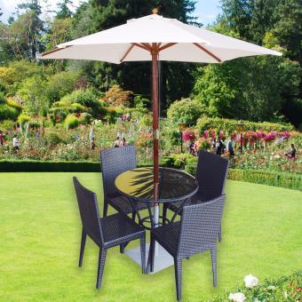 Beach Garden Wooden Patio Umbrella (White)