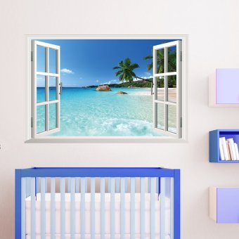 Beach Sea 3D Window View Removable Wall Sticker 60cm*90cm
