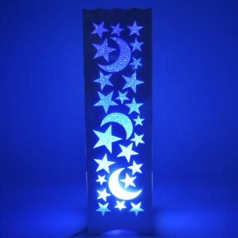 Beautiful Hollow Pattern Moon Star Shape Night Light Lamp (Blue)