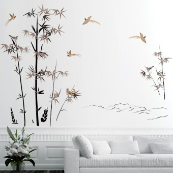 Bedroom living room wall decorations wall stickers bamboo