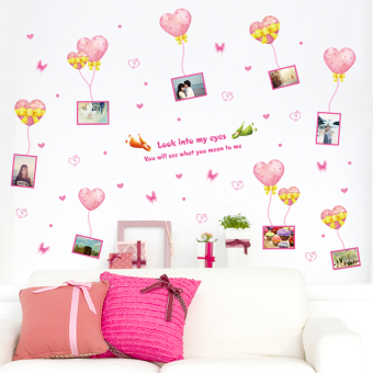 Bedroom romantic lovely balloon photo adhesive paper wall stickers