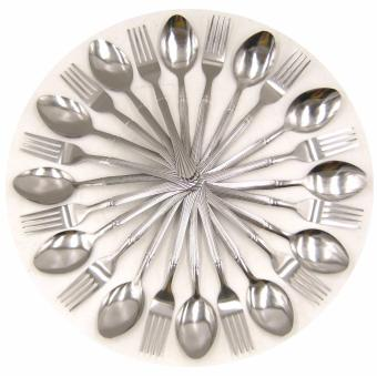Beemo-NT Stainless Steel Thin Spoon and Fork 24 Pcs Set (Silver)
