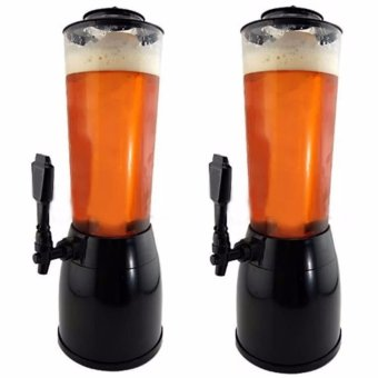 Beer Tower Dispenser 2.5L with LED Light and Ice Holder Set of 2