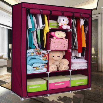 Best Quality Fashion Cloth Storage Wardrobe (Wine Red)