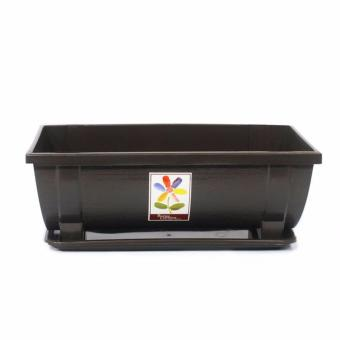 Better Garden Flower Pot CM 8279 Rectangle with Water Tray Base (Small) (Black)