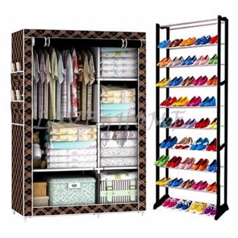 Better One 105NT Zipper Fashion Storage Wardrobe (Brown Stripe) With High Quality Amazing Shoe Rack (Black)