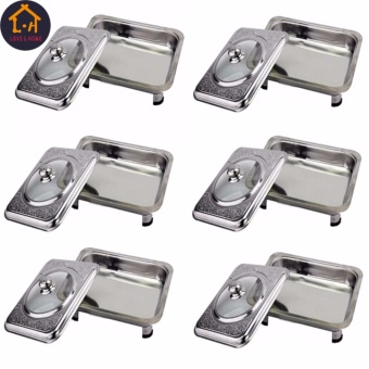 Better One Rectangular Stainless Food Warmer Tray With PatternDesign Cover Set Of 6 (Silver)