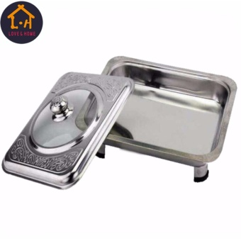 Better One Rectangular Stainless Food Warmer Tray With PatternDesign Cover Set Of 6 (Silver) - 2
