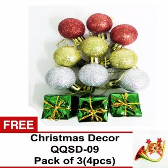 Beverly's Christmas Tree Decorations Pack of 3 (QQSD-05) with FreeChristmas Decor Pack of 3 ( QQSD-09)