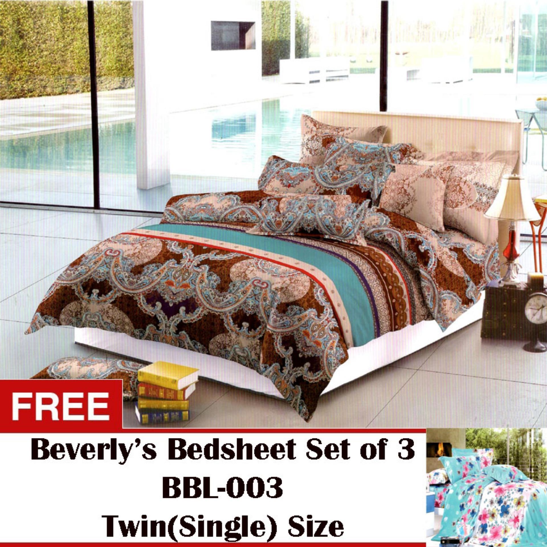 Beverly's Linen Collection Bedsheet Set of 3(BBL-107)Full(Double)with Free Beverly's Linen Collection Bedsheet Set of3(BBL-003)Twin(Single)
