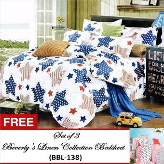 Beverly's Special Linen Collection Set of 3Bedsheet(BBL-132)Twin(Single)with Free Beverly's Special LinenCollection Set of 3 Bedsheet(BBL-138)Twin(Single)