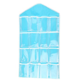 Big Bash 16 Pockets Hanging Organizer For Clothes/Socks/ Scarves(Blue)