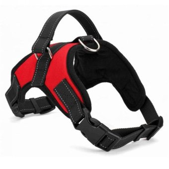 Big Dog Soft Harness Adjustable Pet Dog Big Exit Harness Vest Collar Strap for Small and Large Dogs Pitbulls - Red (XL) - intl