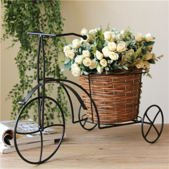 Bike iron wicker baskets flower holder flower