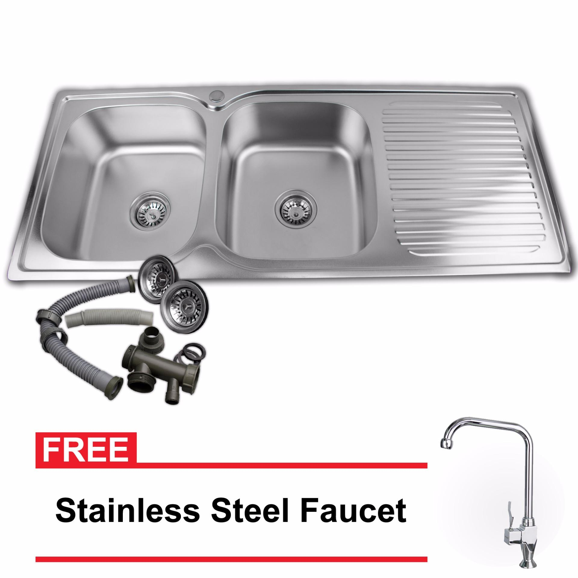 B.I.T. Stainless Steel Dual Tub Kitchen Sink with Drying Panel ...