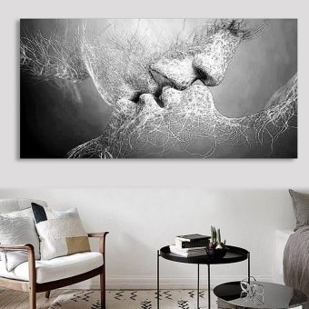 Black & White Love Kiss Abstract Art on Canvas Painting Wall Art Picture Print - intl