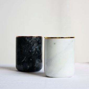 Black and White Marble Candle Holder