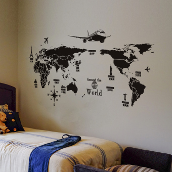 Black and white world map sticker wall adhesive paper