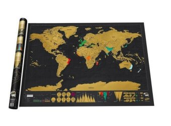 Black Luxury Scratch World Map Cylinder Packing Home Decor Gift - 2