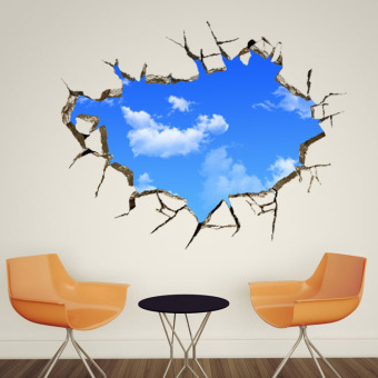 Blue Sky white clouds 3D ceiling wall stickers