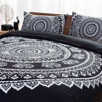 Bohemian Indian Mandala Hippie King Size Bedding Pillowcases Quilt Cover Set - 3