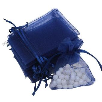 BolehDeals 100pcs Organza Gift Jewellery Bags Pouches Wedding Favours Navy Blue - intl
