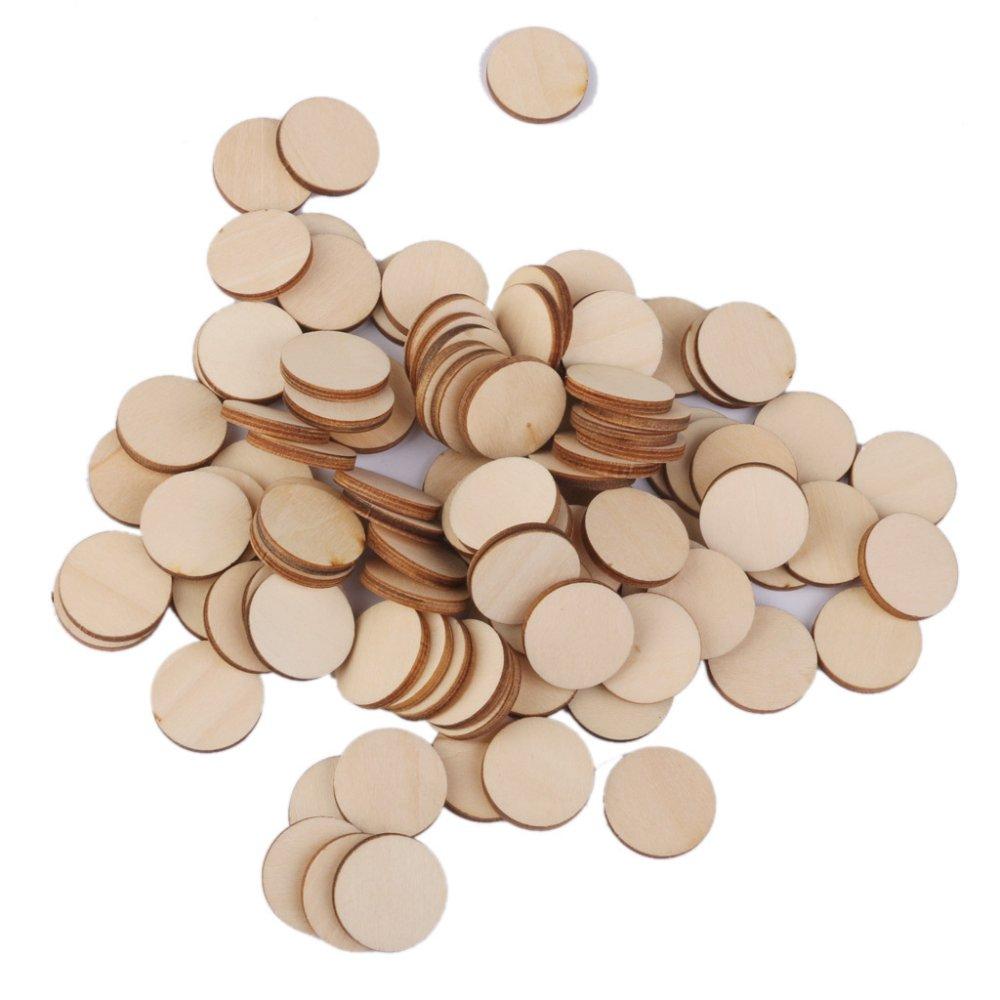 ... BolehDeals 3mm thick Round Wooden Embellishments for DIY Crafts100pcs 20mm ...