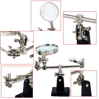BolehDeals Helping 3rd Hand Tool Jewelry Repair Soldering Iron Stand with Clamp Magnifying .
