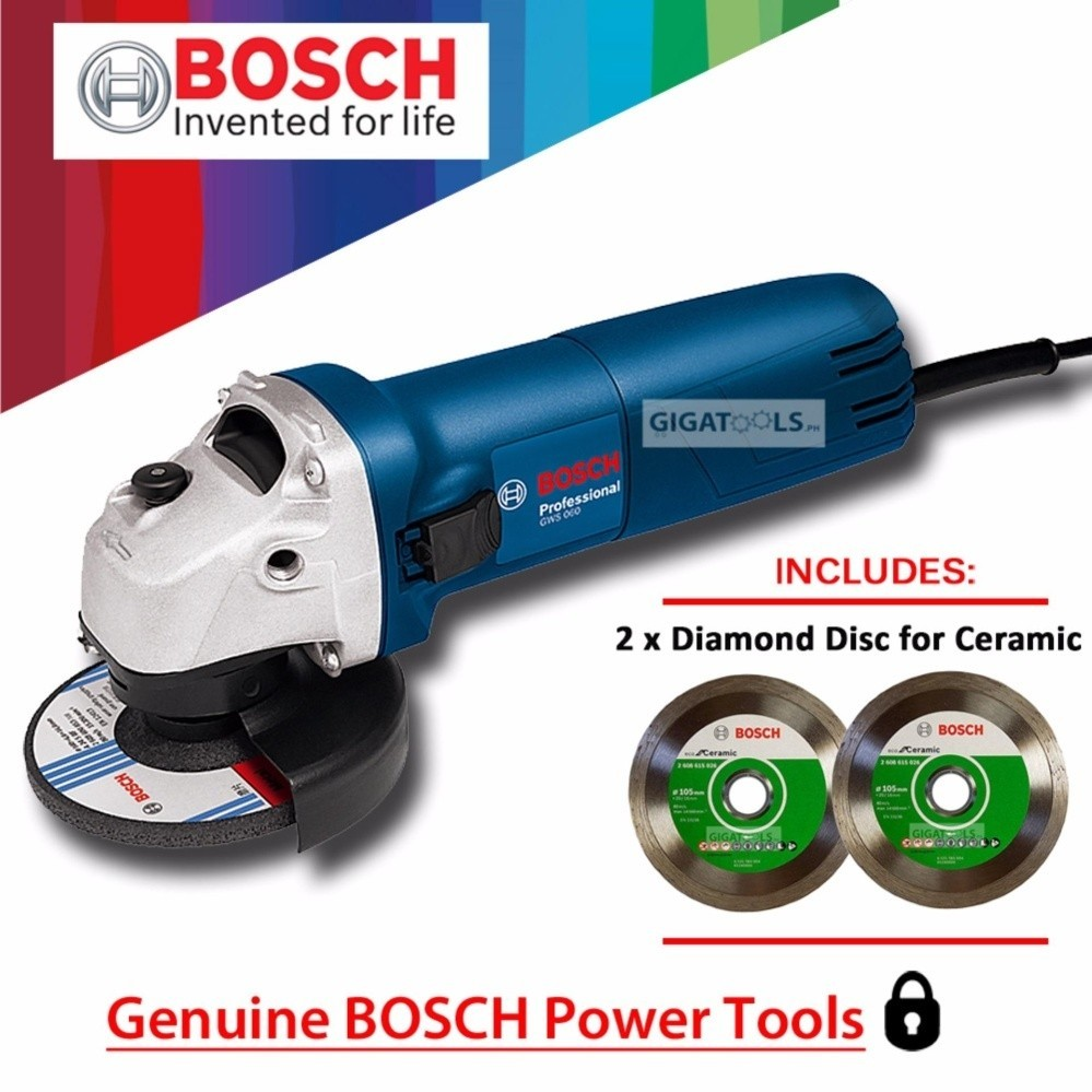 Bosch gws 060 angle grinder 4 670w with 2pcs diamond disc for bosch gws 060 angle grinder 4 670w with 2pcs diamond disc for ceramic tiles lazada ph dailygadgetfo Images