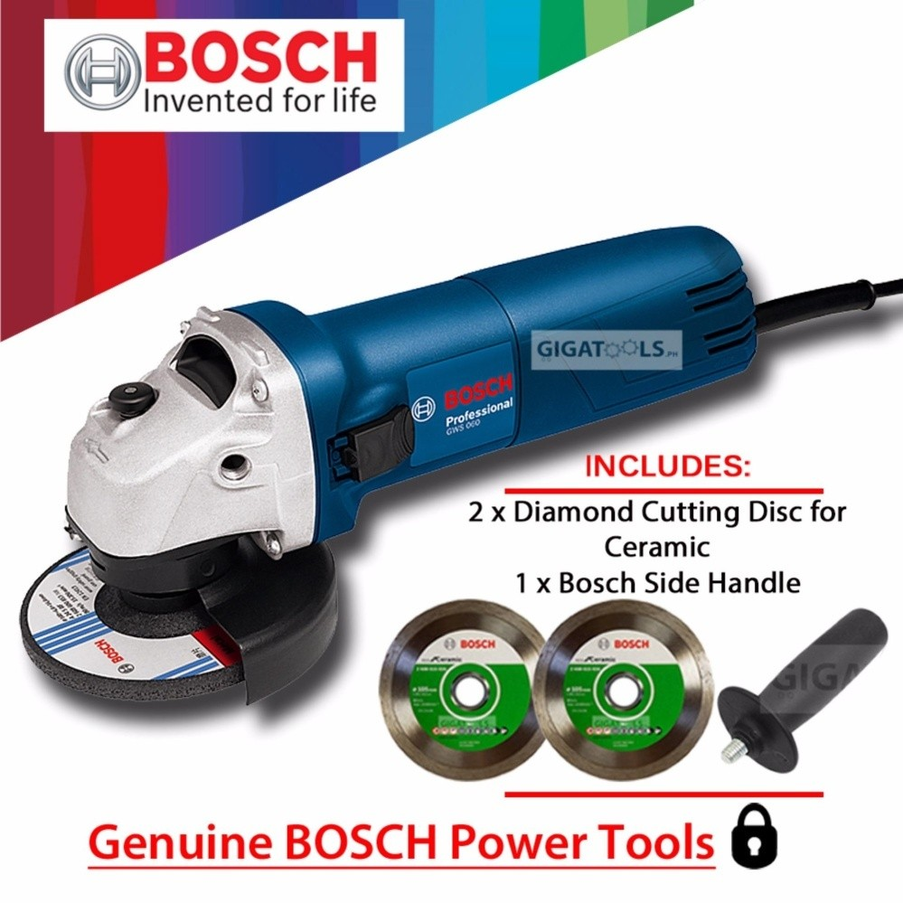 Bosch Gws 060 Angle Grinder 4 670w With 2pcs Diamond Disc For