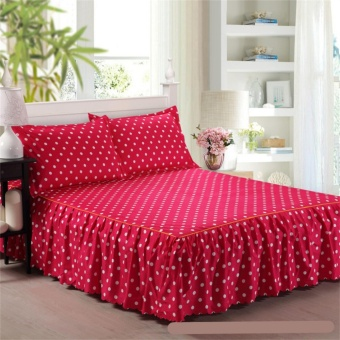 Brand High Quality Soft Cotton Bed Skirt Bedsheets Bed Cover Floral Printing 4 Size - intl