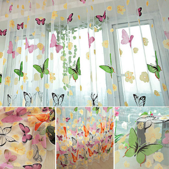 Burned / Washable Butterfly Curtains Bedroom Finished TransparentYarn Children's Window Living Room Butterfly Decoration - intl