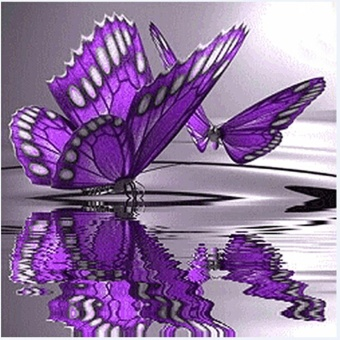 Butterfly Flowers Diamond Embroidery 5D DIY Diamond Painting CrossStitch Crafts - Multicolor - intl
