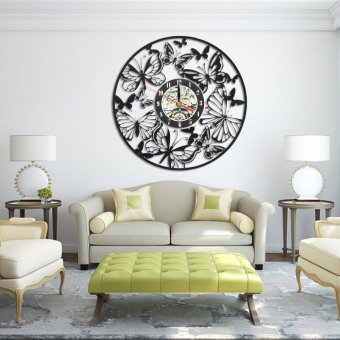 Butterfly Room Decorations Wall Clock Home Decor Vinyl Art Decal459 - intl