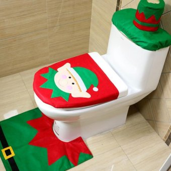 BUYINCOINS 3pcs Cute Toilet Seat Cover Christmas Decoration Santa Rug Bathroom Mat Set - intl