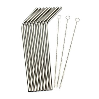 BUYINCOINS 8Pcs Stainless Steel Metal Drinking Straw Reusable Straws  3 Cleaner Brush Set