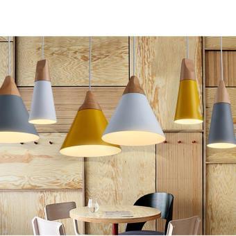 BUYINCOINS E27 Simple Wood Pendant Ceiling Hanging Lamp ChandelierKitchen Light Fixture L Black - intl - 4
