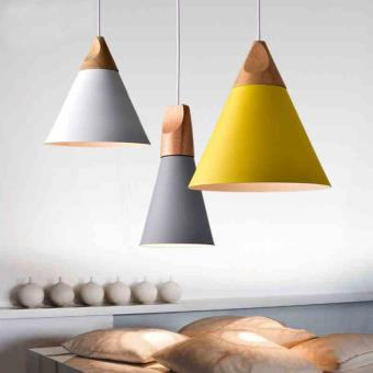 BUYINCOINS E27 Simple Wood Pendant Ceiling Hanging Lamp ChandelierKitchen Light Fixture S Black - intl - 2