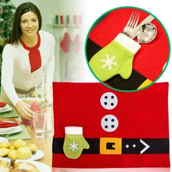BUYINCOINS Newest Christmas Table Covers Santa Claus TablePlacemats Coaster Cover Runner Mat Cutlery Holder - intl - 2
