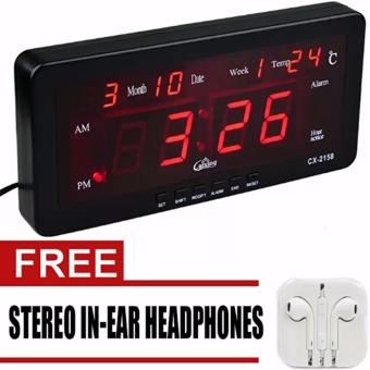 Caixing CX-2158 Digital LED Alarm Clock (Black) with free Headset (White)