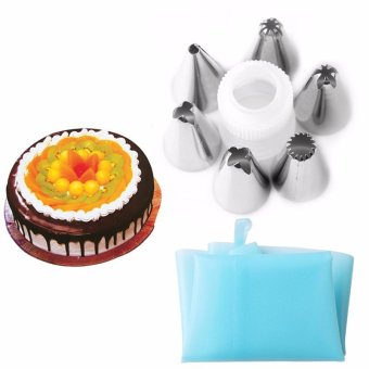 Cake 7pc/set Silicone Icing Piping Cream Pastry Bag with 6pcsStainless Steel Nozzle Sets Cake DIY Decorating Baking Tool - intl