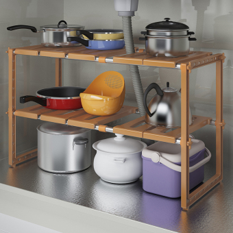 Can be retractable stainless steel sink under the shelf kitchen shelf