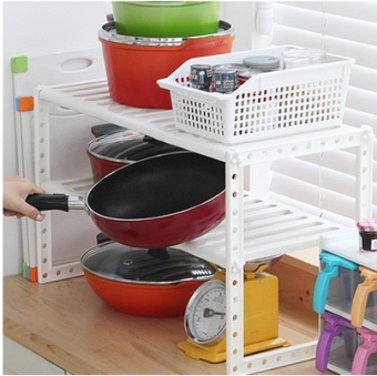 Can be retractable under the double layer bathroom storage rack pot rack