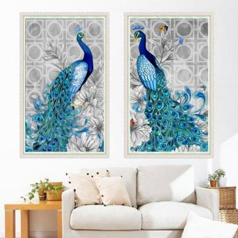 Candy Online 2 IN 1 Peacock DIY 5D Diamond Painting Cross StitchFull Drill Rhinestone Painting Decor (8002+8001) - 3