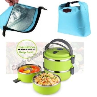 Candy Online 2 Layer Stainless Steel Lunch Box With Lunch Bag(Green)