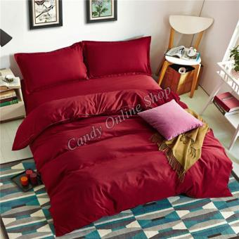 Candy Online Quilt Cover Pillow Bedsheet 4 Piece Bedding Set (Red)