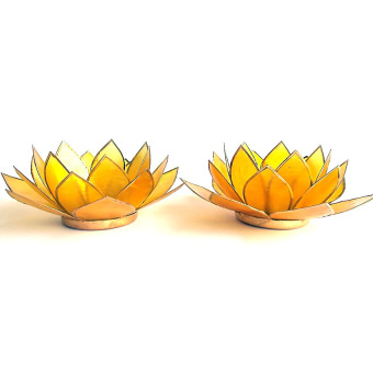 Capiz Lotus Candle Holder Set of 2 (Yellow) Price Philippines