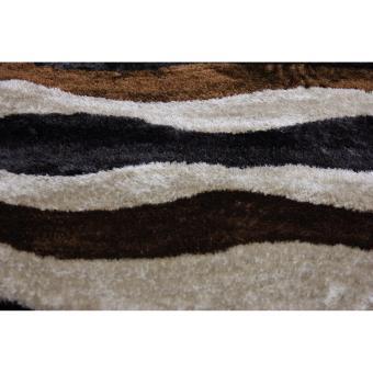 Carpetier Concepts - 3D Waves design. Black, Brown, Beige. Shaggybedroom table carpet home decor rug - 4